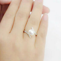 Fashion Wedding Rings for Women 925 Silver Jewelry White Pearl Ring Size 6-10