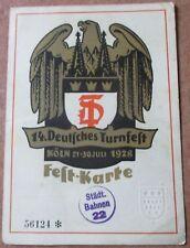 14 Deutsches Turnfest Köln 21 - 30 Juli 1928 Fest Karte AK Köln
