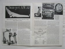12/1946 ARTICLE 7 PAGES CUTAWAY ECORCHE AW-52 GLIDER TAILLESS EXPERIMENTAL