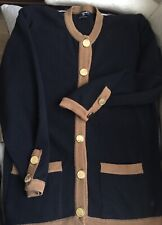 CHANEL Cashmere Cardigan in Black w.Camel colour edging & gold tone buttons Med