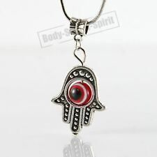 Red Hamsa Hand of Fatima EVIL EYE Necklace Lucky charm Choker karma god Pendant