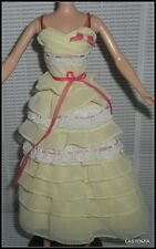 DRESS BARBIE DOLL GREASE VINTAGE 50'S STYLE FRENCHY YELLOW LAYERED RUFFLE GOWN