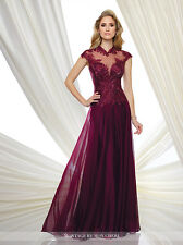 NEW MONTAGE Mon Cheri 216970 Formal Evening BURGUNDY GOWN Size 12 Mother Bride
