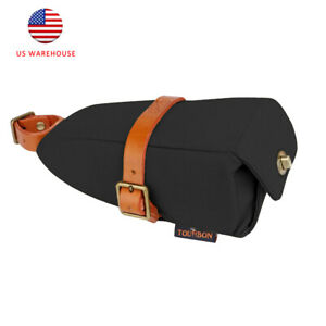 Tourbon Waterproof Bike Saddle Bag Canvas & Leather Seat Storage Tail Pouch US