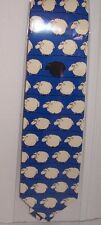 Blue tie with sheep design