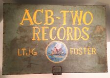 RARE WWII era SeaBees ACB-2 Storage Bin-Metal Military Record Locker-MI Sticker