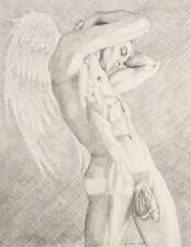 "9"" x 12"" drawing print nude male striving to be an angel gay art"