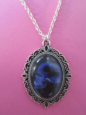 Black and Purple X-Ray Skull Silver Plated Necklace New in Gift Bag Gothic