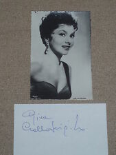 "Gina Lolobrigida signature on 3x5 card with 2x4 collectors photo by ""Sam Levin"""
