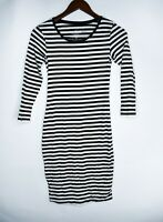 Women's H&M Black White Stripe Dress Size Small Organic Cotton Tight Fit