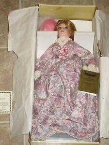SEYMOUR MANN Designer Porcelain Doll 1989 Girl With Pink Dress & Bunny NEW NRFB