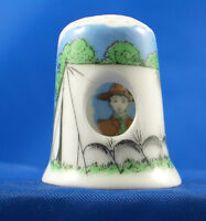 Birchcroft China Thimble -- Peephole -- Scout in Tent -- Free Dome Box