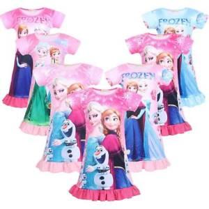 Frozen Elsa Anna Nightdress Nightwear Pajamas Nightie Skirts Sleeping Dresses