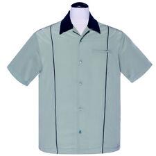 Steady Clothing Vintage Rockabilly Hemd Bowling Shirt - The Shuckster Minzgrün