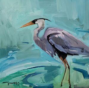 JOSE TRUJILLO Oil Painting IMPRESSIONISM CRANE BIRD CONTEMPORARY ORIGINAL ART