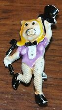 """Vintage Miss Piggy Tap Dancing Ready Painted 1 1/2"""" Inch Metal Pin / Brooch!"""