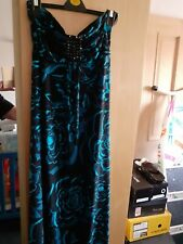Monsoon Size 14 Slinky Maxi Dress Immaculate  Black /turquoise