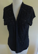 NEW EILEEN FISHER WOODLAND BROWN LACY ORGANIC COTTON KNIT OPEN CARDIGAN SHRUG L