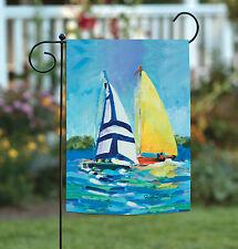 Toland Regatta 12.5 x 18 Colorful Watercolor Sail Boat Ocean Sailing Garden Flag