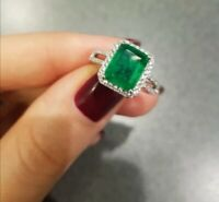 Natural Gemstone Emerald Ring 925 Sterling Silver Women's Princess Jewelry