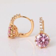 24ct Yellow Gold Filled Lever-back Earrings Round Pink Sapphire Crystal Hoop