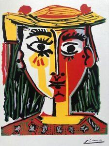 Pablo Picasso, Donna con il cappello a pon-pon e la camicia , 32x39 litografia