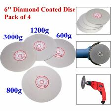 "4pcs 6"" 600 800 1200 3000 Grit Diamond Coated Flat Lap Wheel Grinding Disc Tool"