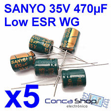5 x CONDENSADOR ELECTROLITICO SANYO WG 35V 470uF 105º LOWESR BAJA IMPEDANCIA