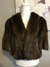 Mink Cape Chocolate Brown Two Pocket Wide Collar Striped Fur Fulky Lined
