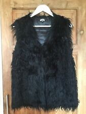Bik Bok Black Faux Fur Sleeveless Jacket Gilet Size Large 12-14