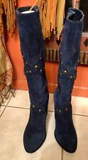 Sharp Carlos Santana DESEO Womens Size 10 Blue Suede Leather Studded Tall Boots