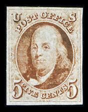 US #1; 5¢ red brown FRANKLIN, RARE XF-OG-MH, 2020 PSE Certificate, CV $6,000