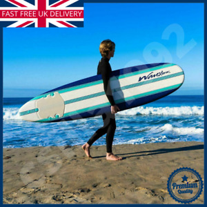 Classic 8ft Wavestorm Foam Triple Stringer Surfboard in White and Blue Leash UK