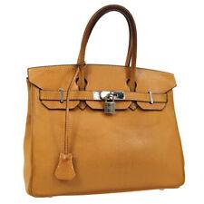 HERMES BIRKIN 30 Hand Bag Natural Vache Liegee 75E □K JT09166