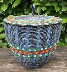 Old Vintage Midcentury Modern African Inspired Large Lidded Wire Basket Pot