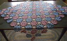"""BEAUTIFUL ANTIQUE VINTAGE CROCHETED PINK , WHITE & BLUE TABLECLOTH 45"""" X 44"""""""