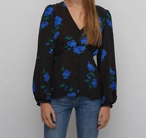NOBODY'S CHILD Floral Fitted Long Sleeve Peplum Top Size 8 New with Tag