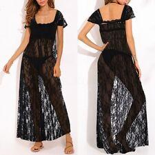 UK Womens Summer Lace Floral See Through Beach Dress Ladies Long Maxi Dresses