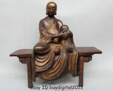 "15""Tibet Buddhism Bronze Kshitigarbha arhat Buddha Sit on wooden stool statuary"