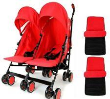 Doble Twin Cochecito Cochecito Cochecito Buggy Rojo Inc protector contra la lluvia & Infantiles