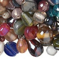 1037AS Glass Bead Mix, Assorted Shapes Laster Finish Large to Small, 100 grams