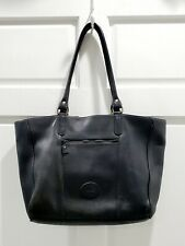 Eddie Bauer Black Leather Large Weekender Tote Laptop Bag Handbag
