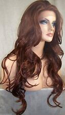 Lace Front Wig Long Curly Layered Red Auburn 33.130 Iron Safe Heat OK Kim