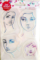 Faces Jane Davenport Clear Acrylic Stamp Set 376686 NEW!