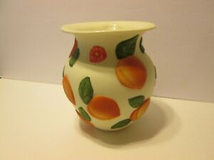 """Claire Burke Peaches Vase Farmhouse Hand Painted Collectible 6 1/2"""" country"""