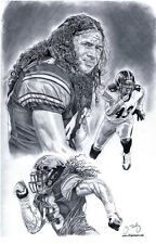 Troy Polamalu of Pittsburgh Steelers sketch poster ART