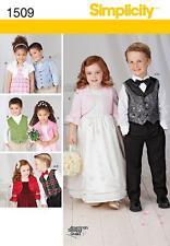 Simplicity SEWING PATTERN 1509 Girls Bolero & Boys Waistcoat & Bow Age Tie 3-8