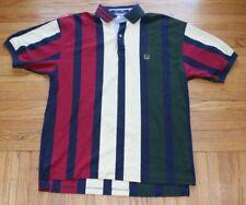 Vintage Tommy Hilfiger Striped Polo Shirt Mens Medium Color Block Crest 90s Logo