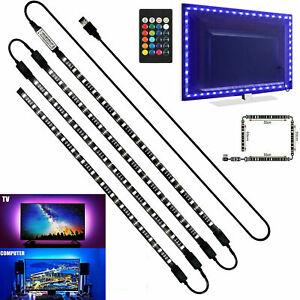 4 x 50CM TV LED Backlight USB 5050 RGB LED Strip Light Remote Kit 5V 30Leds US