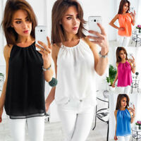 Women's Summer Sleeveless O Neck Chiffon Tops Casual Cami Vest Blouse T-Shirt